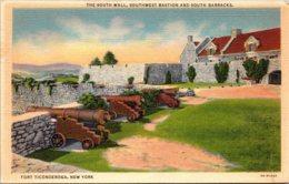 New York Fort Ticonderoga South Wall Southwest Bastion And South Barracks 1947 Curteich - NY - New York