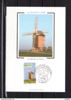 """FRANCE 2006 : Carte Maximum En Soie """" LA FRANCE A VOIR : LE MOULIN DE VALMY """"  N° YT 3949. Parfait état. CM - Moulins"""