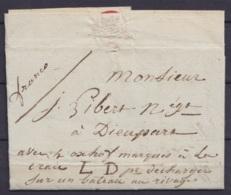 """L. Datée 10 Avril 1827 De HUY Pour DIEUPART (Aywaille) Par Barque """"Avec Les … Marqués à La Craie LD Pour Décharger Sur U - 1815-1830 (Période Hollandaise)"""