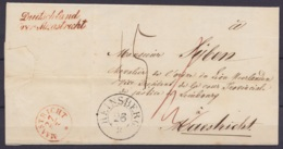 "L. Datée 25 Mars 1845 De HEINSBERG Càd HEINSBERG /26/3 Pour MAESTRICHT - Port ""15"" (au Dos: Griffe ""Duitschland Over Maa - Nederland"
