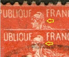 2 N° 135°_petite Variété Normal Et Tête Applatie_voir Scan - 1906-38 Säerin, Untergrund Glatt