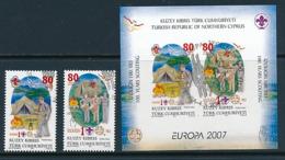 TÜRKISCH - ZYPERN  Mi.Nr. 659-660 A , Block 26  Pfadfinder - 2007- Used - Europa-CEPT