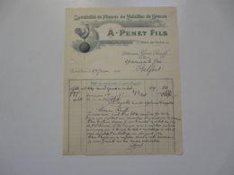 VIEUX PAPIERS - FACTURE : A. PENET Fils - Spécialité De Plumes De Volailles - Pont De Vaux - Ain - Francia
