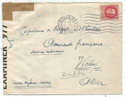 PETAIN 1FR50 ROSE LETTRE LIMOGES GARE 3.II.1942 POUR AMIRAUTE VICHY ALLIER VIA DUBLIN CENSURE BRITISH - Marcophilie (Lettres)