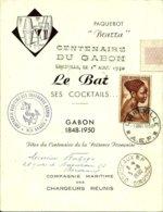 """Sur Menu Du Paquebot """"BRAZZA"""" Pour Le Centenaire Du GABON -1950 - - Gabon (1886-1936)"""