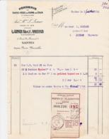 NANTES LEMER BRISSON FONDERIE TOUTES PIECES EN PLOMB ETAIN ANNEE 1914 AVEC RECIPISSE CACHET JARNAC - France