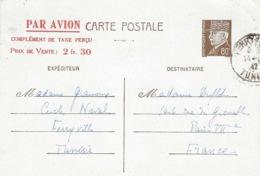 1942 - C P E P Pétain 80 C + PAR AVION / ... / Prix De Vente:2fr.30 De Ferryville ( Tunisie ) Pour Paris - Marcophilie (Lettres)