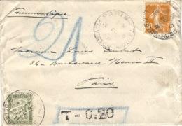 """1911- Pneumatique Affr. à 30 C.  Avec Taxe 20 C  """"  T - 0 : 20 """" - 1877-1920: Periodo Semi Moderno"""