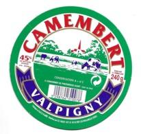 ETIQUETTE De FROMAGE Cartonnée..CAMEMBERT Fabriqué En ILLE Et VILAINE...VALPIGNY - Quesos