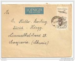 226 - 66 - Lettre Avion Envoyée En Suisse 1957 - Rare étiquette Par Avion - Covers & Documents