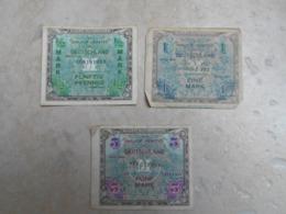 Lot De 3 Billets 1/2 1 Et 5 Mark Us Usa GI'S De Dotation Invasion Allemand Serie 1944 - 1939-45