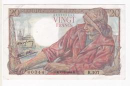 20 Francs Pécheur 10 – 2 – 1944 Alphabet R.107 N° 60344 - 1871-1952 Anciens Francs Circulés Au XXème