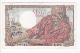 20 Francs Pécheur 10 – 2 – 1944 Alphabet R.107 N° 60344 - 1871-1952 Antichi Franchi Circolanti Nel XX Secolo