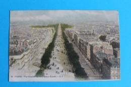 CPA Carte Postale Ancienne PARIS Vue Générale Sur Les Champs Elysées Carte Colorisée 1915 - Landkaarten
