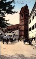 Cp Zell Am See Salzburg, Martkplatz Mit Kirche, Pferdefuhre - Autriche