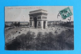 CPA Carte Postale Ancienne PARIS Arc De Triomphe Et Place De L'Etoile -  Carte Colorisée Timbrée 1909 - Landkaarten
