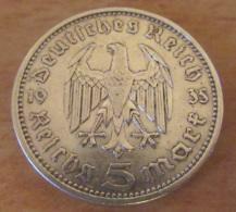 Allemagne / 3e Reich - Monnaie 5 Reichsmark Hindenburg 1935 A En Argent - TTB / SUP - [ 4] 1933-1945 : Troisième Reich