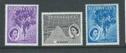 Seychelles 1954 QEII Definitives 50c & 1.5R Palm , 1R Map Fine Mint - Seychelles (...-1976)
