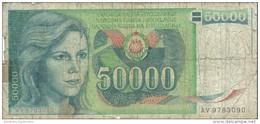 YUGOSLAVIA 50000 DINARA 1988 P-96 PR/FR  [ YU096circ ] - Jugoslawien