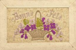 Carte Brodée Bonne Fete Panier De Fleurs RV - Brodées