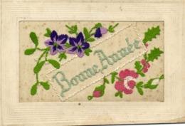 Carte Brodée Bonne Année  Fleurs RV - Brodées
