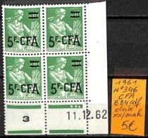NB - [838426]TB//**/Mnh-Réunion (Colonie FR) 1961 - N° 346, CFA, Bd4, Cdf Daté - Réunion (1852-1975)