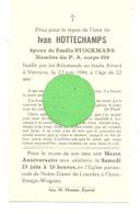 Faire-part De Décès Ivan HOTTECHAMPS - Résistance P.A. Corps 014 - Fusillé Verviers 1944 Guerre 40/45 Photo Verso(B266) - Décès