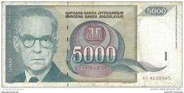 YOUGOSLAVIE 5000 DINARA 1992 P-115 CIRCULÉ [YU115circ] - Jugoslawien
