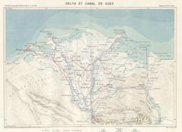Antique Print 1885 Color Map Egypt Nile Delta Suez Canal Cairo Alexandria - Mapas Geográficas