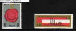 POLAND 1965 20TH ANNIVERSARY OF SOVIET-POLISH TREATY SET OF 2 NHM USSR ZSSR Wax Seal Industry Oil Petrol Refinery - Neufs