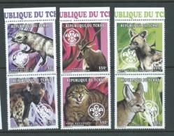 Tchad Chad 1998 Scouts / Animals Set Of 3 Pairs Marginal MNH - Chad (1960-...)