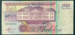 Suriname 1998 Biljet 100 Gulden Gebruikt En Licht Beschadigd - Surinam