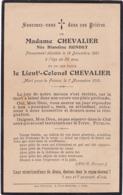 Généalogie - Faire-part De Décés - Carte Mortuaire : Lt.-colonel CHEVALIER - Mort Pour La France : - 7/11/1918 - - Décès
