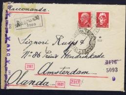 Italy: Registered Cover Milano -> Amsterdan Censored 1942 - Storia Postale
