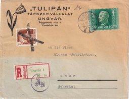 HONGRIE 1944 LETTRE RECOMMANDEE CENSUREE DE UNGVAR AVEC CACHET ARRIVEE CHUR - Ungheria