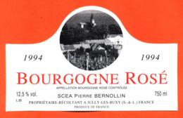 étiquette De Vin De Bourgogne Rosé 1994 Pierre Bernollin à Jully Les Buxy - 75 Cl - Bourgogne