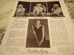 ANCIENNE PUBLICITE QUELQUES INSTANTS DE SOINS DOROTHY GRAY 1932 - Perfume & Beauty