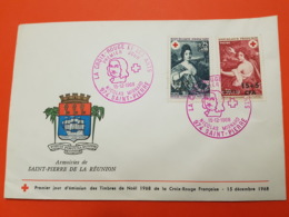 Premier Jour - CFA Réunion - Croix Rouge 1968 - Nicolas Mignard : L'automne - Saint Pierre - 15/12/1968 - N°381/382 - FDC