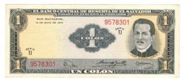 El Salvador 1 Colon 1970.  XF/aUNC. Rare. - Salvador