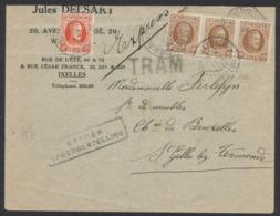 Houyoux - N°199 Et 203 En Bande De 3 Sur Lettre Expres + Griffe TRAM Vers St-Gilles-Lez-Termonde. TB - 1922-1927 Houyoux