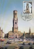 D38432 CARTE MAXIMUM CARD TRIPLE 1974 BELGIUM - BELFRY BRUGGE BEFFROI CP ORIGINAL - Castelli