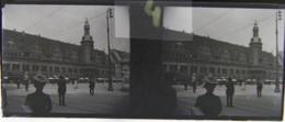 LEIPZIG, 1900 : Marktplatz, Rathaus. Plaque Verre Stéréoscopique Négatif - Plaques De Verre