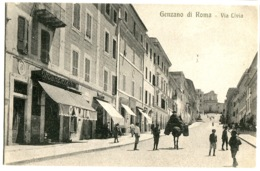 GENZANO Di Roma Via Livia Animata Con Drogheria E Trattoria C. 1908 - Altre Città