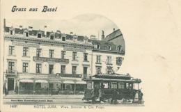 Cpa Grüss Aus Basel, Hôtel Jura, Tramway - BS Basel-Stadt