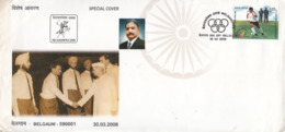 India  2008  Hockey  Bandu Patil 1960 & 1960 Oly Medal Winner Team Member  Special Cover  # 23350   D Inde  Indien - Hockey (Field)