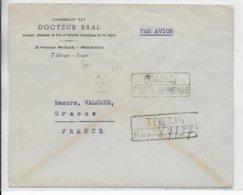 PERSE - 1947 - ENVELOPPE POSTE AERIENNE RECOMMANDEE De TEHERAN (AFFR. TRICOLORE AU DOS) => GRASSE - Iran