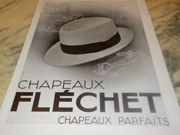 ANCIENNE PUBLICITE PARFAIT  CHAPEAU FLECHET 1932 - Vintage Clothes & Linen
