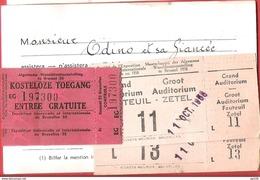 EXPOSITION UNIVERSELLE 1958  CROIX ROUGE 2 Ticket D'entrée Gratuite Avec Le Coupon De Contrôle + 2 Places Auditorium - Tickets D'entrée
