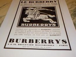 ANCIENNE PUBLICITE MEILLEUR IMPERMEABLE  BURBERRYS  1932 - Vintage Clothes & Linen
