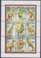 Comores N° 842 / 50 XX  Faune Préhistorique Les 9 Valeurs Se Tenant En Petite Feuille Sans Charnière, TB - Comores (1975-...)
